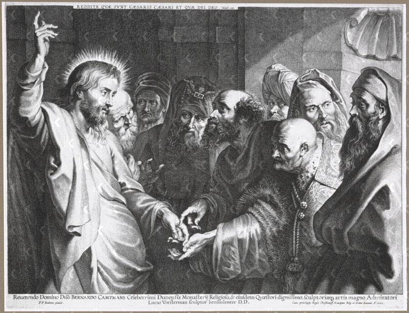 Jesus Paying Tribute Money engraving