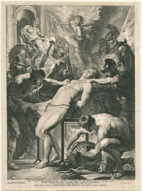 Saint Laurent Martyred by Peter Paul Rubens. Engraving by Vorsterman