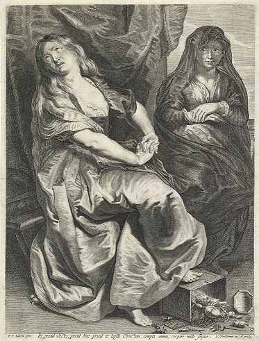 Magdalene and Martha by Rubens engraved by Vorsterman