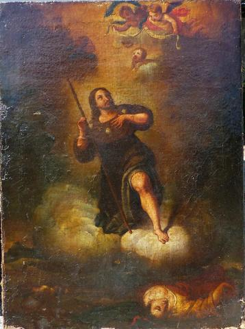 17th Century Circle of Murillo. Patron saint of dogs and plague victims.